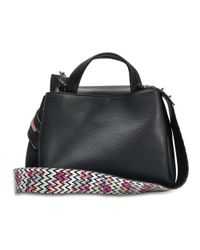 Hogan - Horizonal Mini Tote Bag In Black Grained Calfskin - Lyst