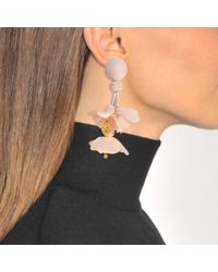 Oscar de la Renta - Multicolor Falling Flower Clip Earrings In Blush - Lyst
