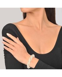 Aurelie Bidermann - Multicolor Diana Twisted Cuff Bracelet In Ivory Metal - Lyst