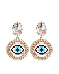 Shourouk - Blue Happy Small Eye Earrings - Lyst