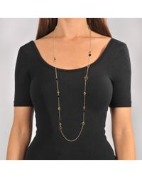 Tory Burch - Multicolor Raised Logo Rosary Necklace In Black Tory Gold Brass And Enamel - Lyst