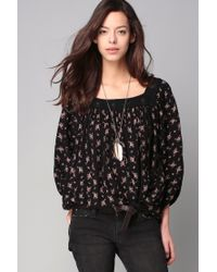 Denim & Supply Ralph Lauren   Black Floral-print Boho Blouse   Lyst