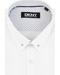 DKNY - Slim Fit White Single Cuff Dobby Texture Shirt for Men - Lyst