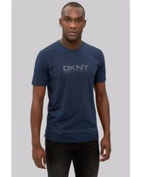 DKNY - Blue Navy Logo Crew Neck T-shirt for Men - Lyst