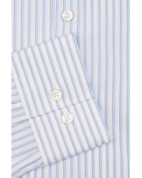HUGO - Single Cuff Hairline Stripe Blue Shirt for Men - Lyst