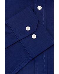 Moss Esq. - Blue Regular Fit Navy Single Cuff Plain Non-iron Shirt for Men - Lyst