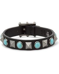 Valentino | Black Leather Silver-tone And Turquoise Bracelet for Men | Lyst