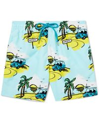 Vilebrequin - Blue Moorea Mid-length Printed Swim Shorts for Men - Lyst