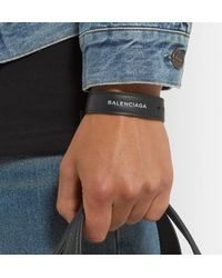 Balenciaga - Black Logo-print Leather Bracelet for Men - Lyst