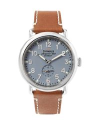 Shinola - Brown The Runwell 41mm Stainless Steel And Leather Watch for Men - Lyst
