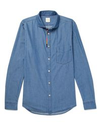 Paul Smith - Blue Cutaway-collar Embroidered Cotton And -blend Chambray Shirt for Men - Lyst