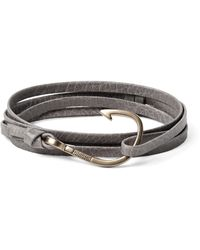 Miansai - Gray Hook Grained-leather And Gold-plated Wrap Bracelet for Men - Lyst