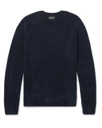 Giorgio Armani | Blue Mélange Ribbed-knit Sweater for Men | Lyst