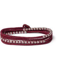 M. Cohen - Red Silver Cord Bracelet for Men - Lyst