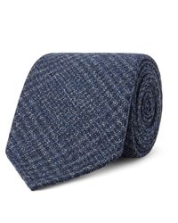 Drake's - Blue 8cm Prince Of Wales Checked Wool Tie for Men - Lyst