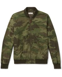 J.Crew - Green Wallace & Barnes Camouflage-print Cotton-ripstop Bomber Jacket for Men - Lyst