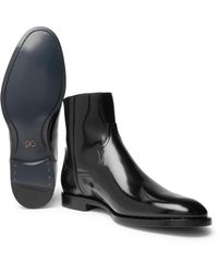 Dolce & Gabbana - Black Polished-leather Chelsea Boots for Men - Lyst