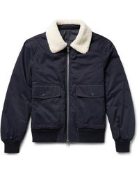 Joseph | Blue Alpha Shearling-trimmed Cotton-twill Flight Jacket for Men | Lyst
