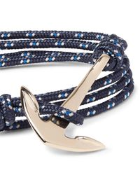 Miansai - Blue Anchor Cord And Gold-plated Wrap Bracelet for Men - Lyst