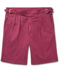 Rubinacci - Pink Manny Pleated Stretch-cotton Twill Shorts for Men - Lyst