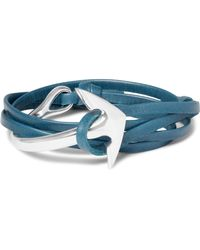 Miansai - Blue Anchor Leather Silver-plated Wrap Bracelet for Men - Lyst