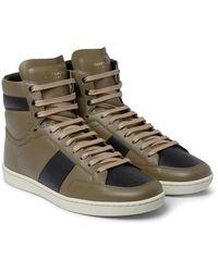 Saint Laurent | Black Sl10 Leather High-top Sneakers for Men | Lyst