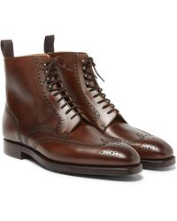 George Cleverley - Brown Bryan Leather Brogue Boots for Men - Lyst
