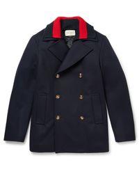 Gucci | Blue Detachable Web-collar Wool Pea Coat for Men | Lyst