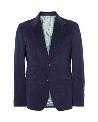 Gucci | Blue Slim-fit Suede-trimmed Cotton-corduroy Blazer for Men | Lyst