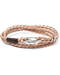 Paul Smith | Natural Two-tone Woven Leather Wrap Bracelet for Men | Lyst