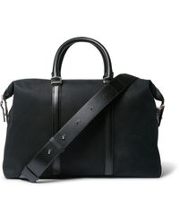 Paul Smith - Black Leather-trimmed Cotton-blend Twill Briefcase for Men - Lyst