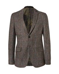 Etro Blue Brown Slim-fit Checked Wool And Silk-blend Blazer for men