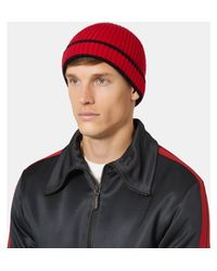 Burberry - Red Contrast-tipped Ribbed Cashmere Beanie for Men - Lyst