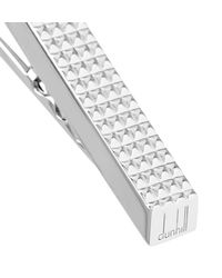 Dunhill - Metallic Knurled Rhodium-plated Silver Tie Bar for Men - Lyst