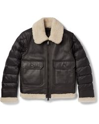 Moncler | Black Laredo Shearling-trimmed Leather And Quilted Shell Down Jacket for Men | Lyst