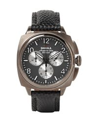 Shinola | Brown The Brakeman 40mm Stainless Steel And Pebble-grain Leather Chronograph Watch for Men | Lyst