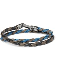Tod's - Blue Scooby Braided Leather Wrap Bracelet for Men - Lyst