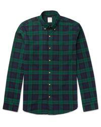 J.Crew - Blue Slim-fit Button-down Collar Black Watch Checked Cotton Shirt for Men - Lyst