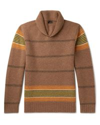 J.Crew | Multicolor Shawl-collar Striped Lambswool Sweater for Men | Lyst