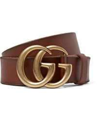 564bc7c8576 Lyst - Gucci 4cm Brown Burnished-leather Belt in Brown for Men