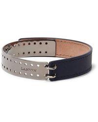 Lanvin - Blue Leather Gunmetal-tone Bracelet for Men - Lyst