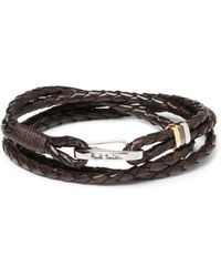 Paul Smith | Brown Woven Leather Wrap Bracelet for Men | Lyst