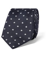 Paul Smith Blue 6cm Star-embroidered Silk Tie for men