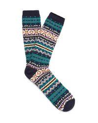 Anonymous Ism - Blue Fair Isle Cotton-blend Socks for Men - Lyst