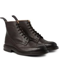 Tricker's - Brown Stow Burnished-leather Brogue Boots for Men - Lyst