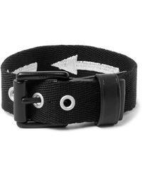 Lanvin | Black Leather-trimmed Embroidered Canvas Bracelet for Men | Lyst