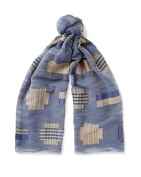 Loewe | Blue Embroidered Cotton-voile Scarf | Lyst