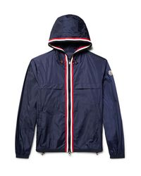 Moncler   Blue Anton Webbing-trimmed Nylon Hooded Jacket for Men   Lyst