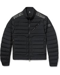 Moncler - Black Geant Leather-trimmed Quilted Stretch-shell Down Jacket for Men - Lyst