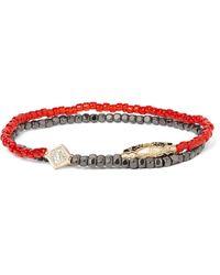 Luis Morais | Red Hematite Bead, Gold And Diamond Wrap Bracelet for Men | Lyst
